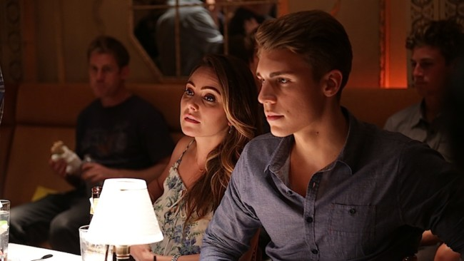 UNDATED - Scene from the film THE CANYONS. Left to Right: On The Canyons set with Amanda Brooks and Nolan Funk. Handout Photo Courtesy of Mongrel Media.