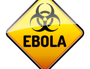 Ebola Biohazard virus danger sign with reflect and shadow on whi
