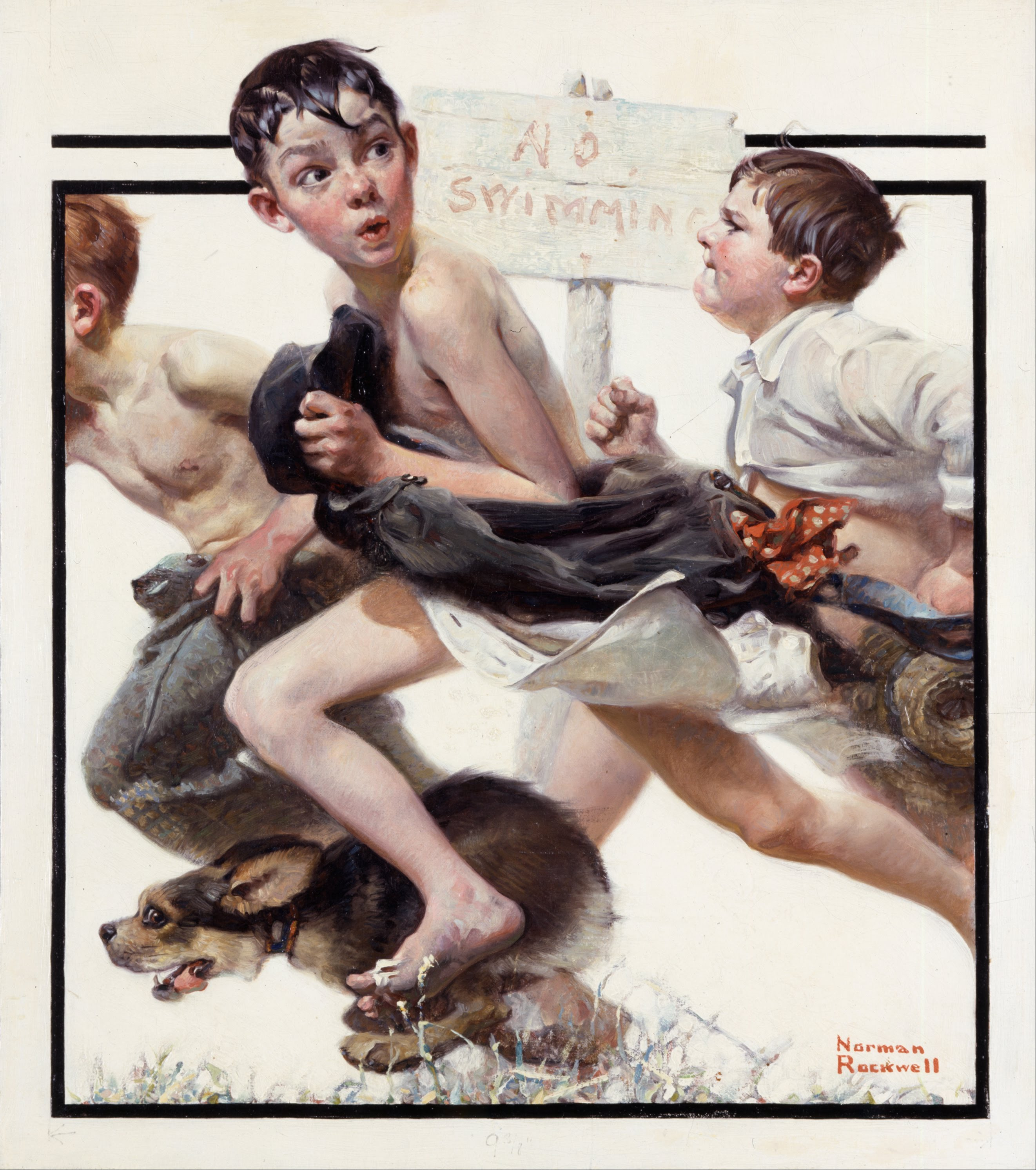 Norman Rockwell No swimming (1921) ©Norman Rockwell Museum, Stockbridge, USA