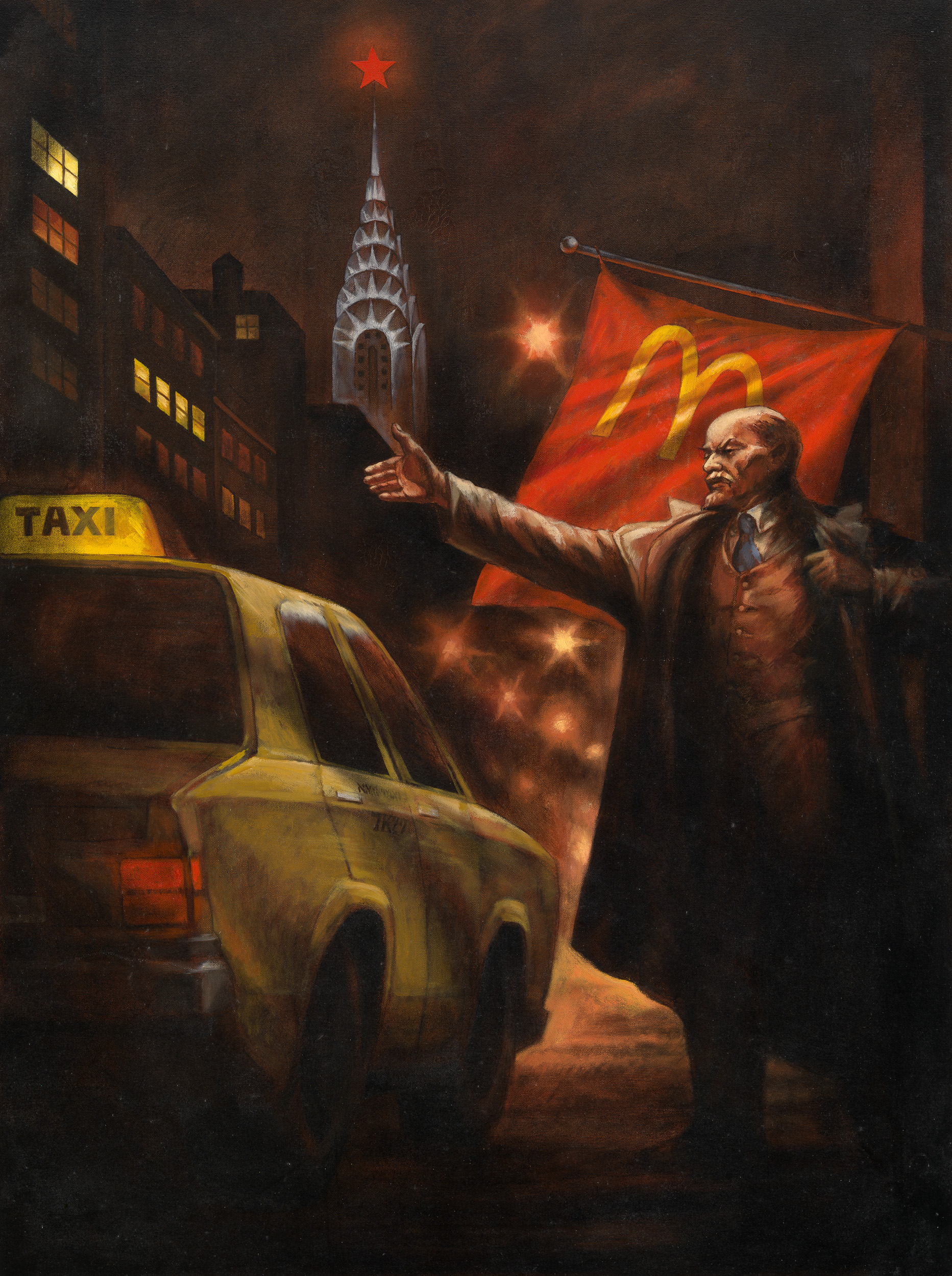 "Komar & Melamid Lenin Hails a Cab in New York, from the Series ""Monumental Propaganda/Lenin's Tomb"" 1993 ©Komar & Melamid, Collezione Privata, USA"