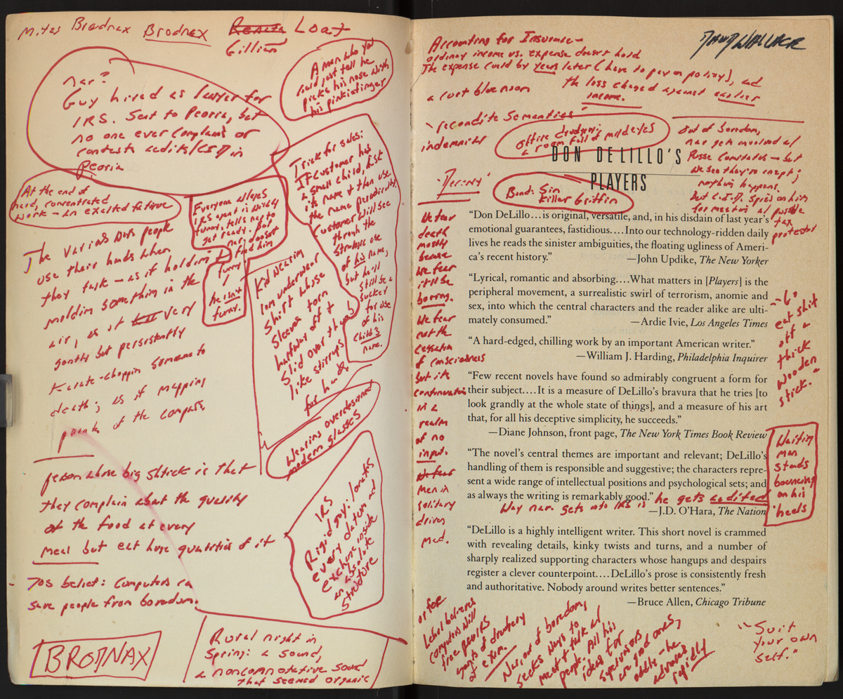 Annotazioni di D. Foster Wallace sul testo Players di Don DeLillo