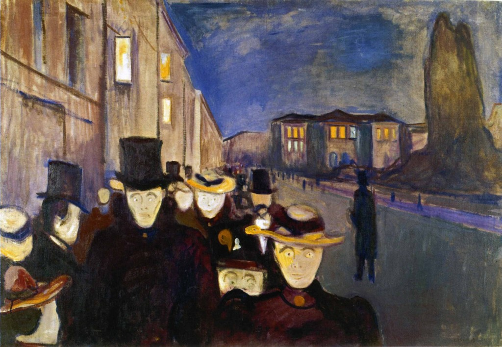 Edvard Munch Sera sul viale Karl Johan (1892). KODE, Museo d'arte di Bergen
