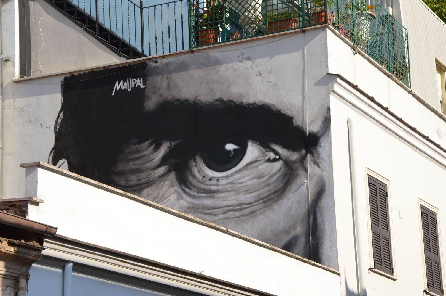 Maupal Pasolini's Eye (2014), via Fanfulla da Lodi, al Pigneto. Foto ©Tamara Patruno