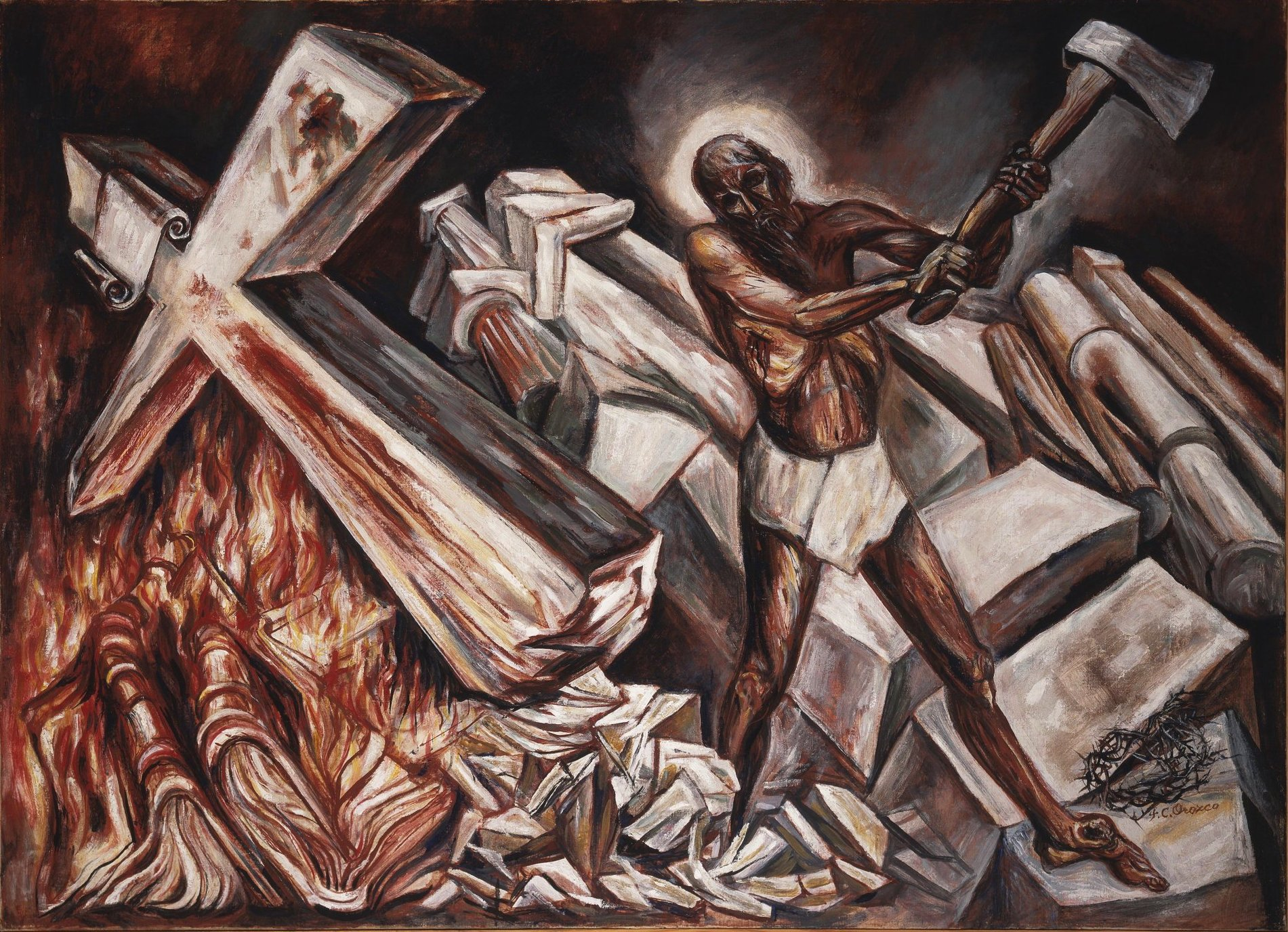 José Clemente Orozco Cristo destruye su cruz (1943). ©Museo de Arte Carrillo Gil, Città del Messico