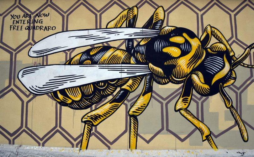 Lucamaleonte Nido di Vespe (2014), in Via di Monte del Grano, Quadraro. Foto ©romagraffiti.com