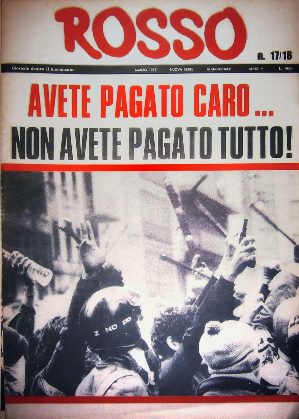 Rosso n. 17/18 (marzo 1977). Milano, Gruppo Gramsci.