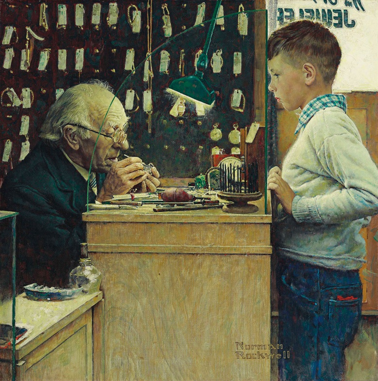 Norman Rockwell What Makes It Tick? (The Watchmaker) (1948). Foto ©Christie's