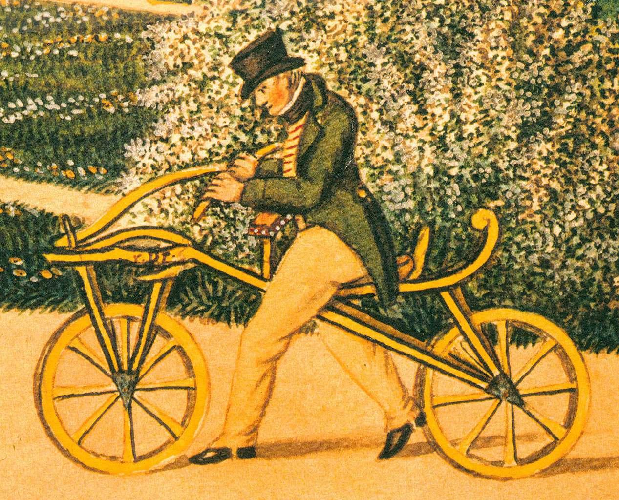 Karl von Drais riding his Draisine. Fonte: WikiCommons