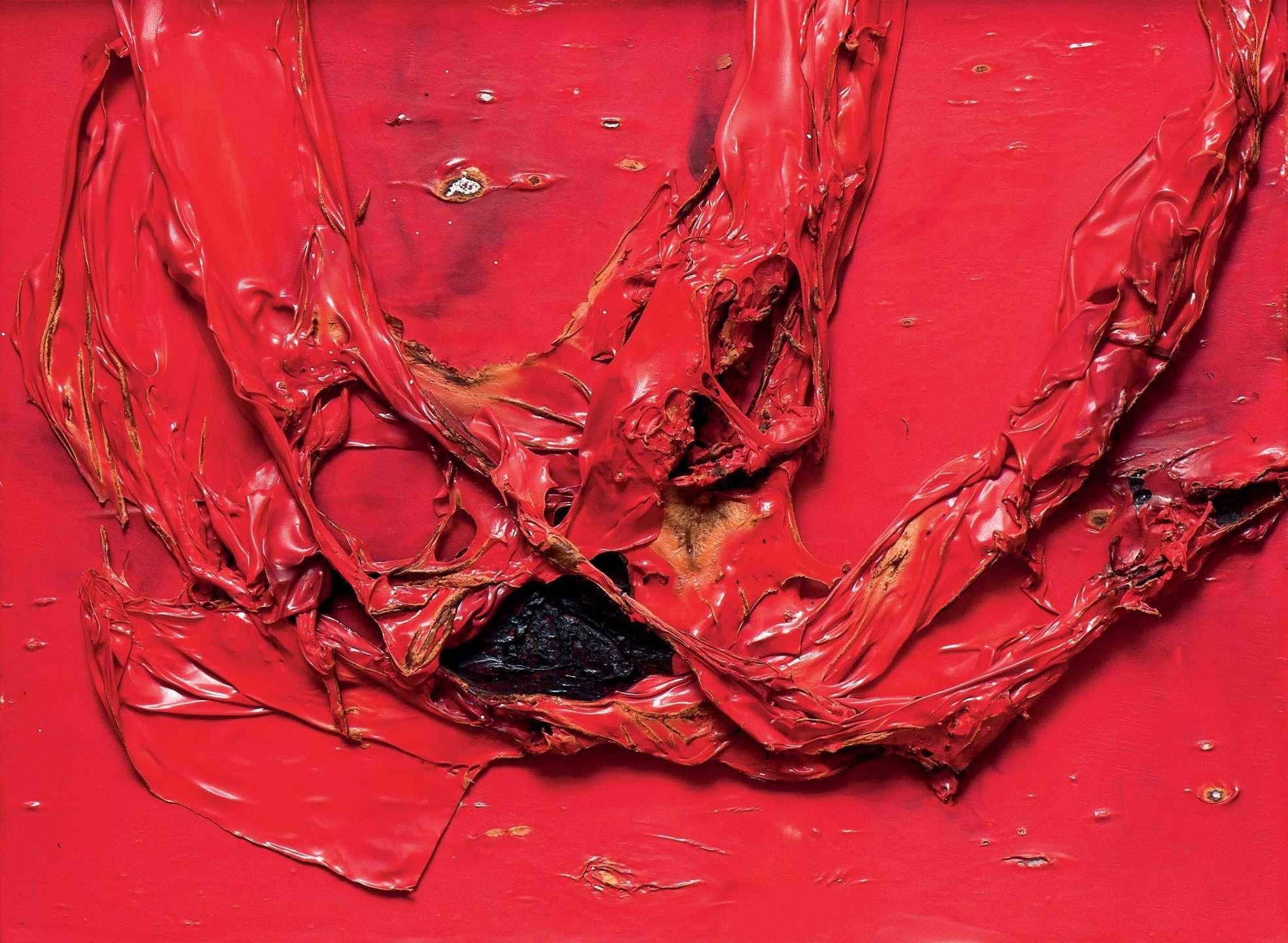 Alberto Burri Rosso Plastica L.A. (1966). ©Mazzoleni