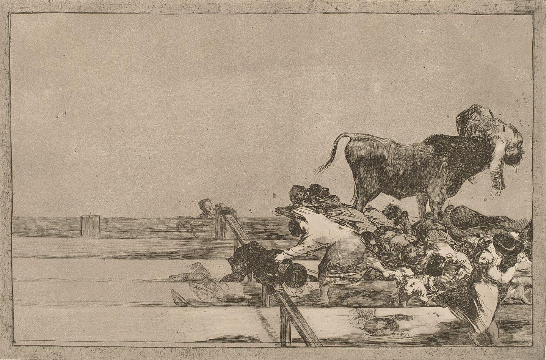 Francisco Goya – Tauromaquia.Desgracias acaecidas en el tendido de la plaza de Madrid, y muerte del alcalde de Tor rejon (1815-16)