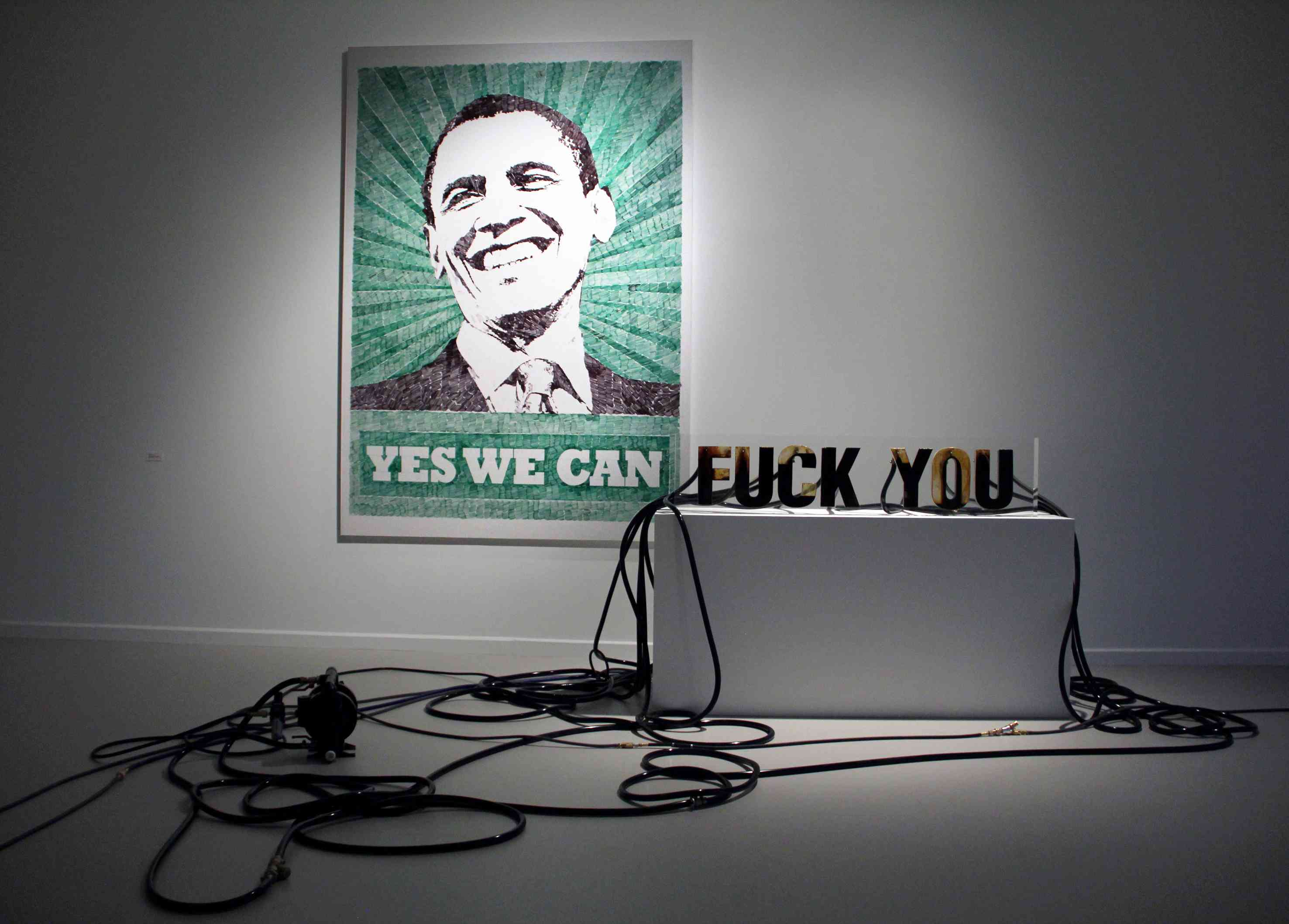 Andrei Molodkin Yes We Can Fuck You (2011). ©Courtesy of Galerie Blue Square, Washington DC