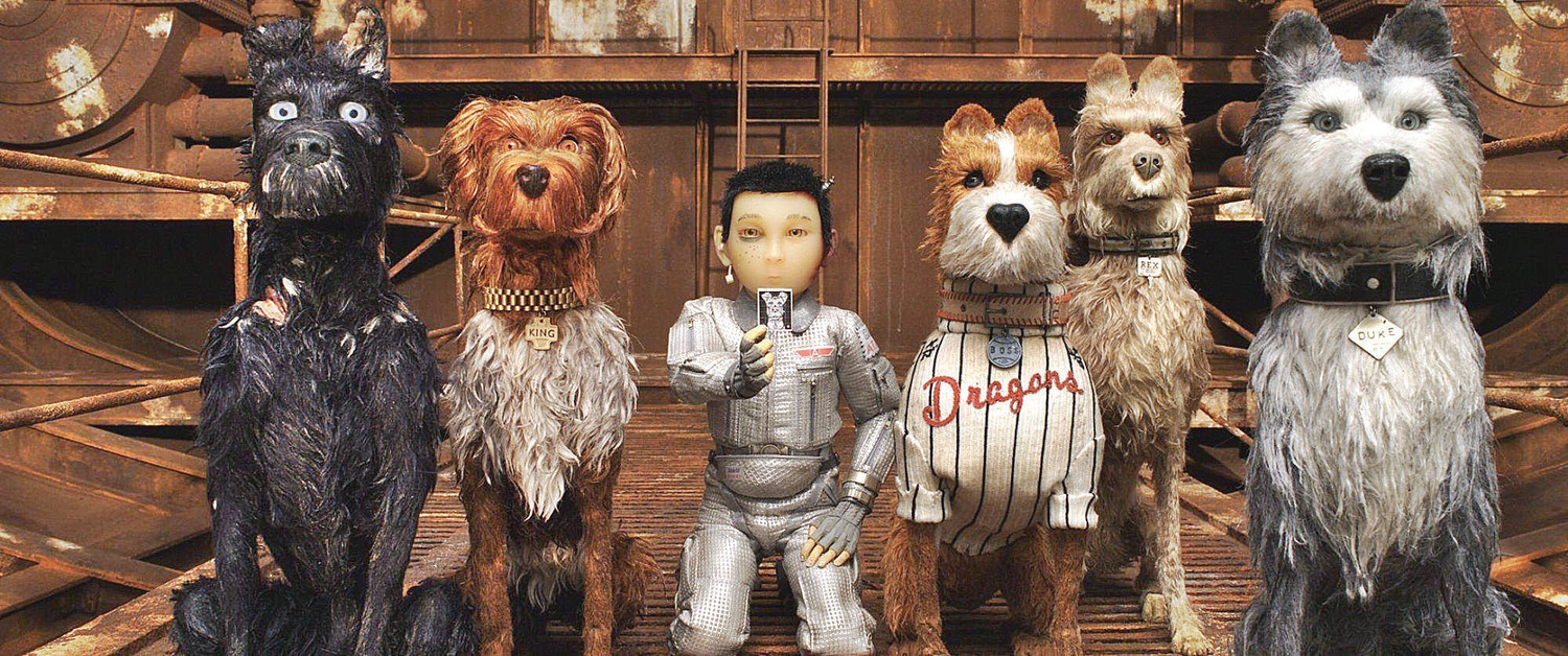 "This image released by Fox Searchlight Pictures shows characters, from left, Chief, voiced by Bryan Cranston, King, voiced by Bob Balaban, Atari Kobayashi, voiced Koyu Rankin, Boss, voiced by Bill Murray, Rex, voiced by Edward Norton, And Duke, voiced by Jeff Goldblum, in a scene from ""Isle of Dogs."" (Fox Searchlight via AP)Koyu Rankin"