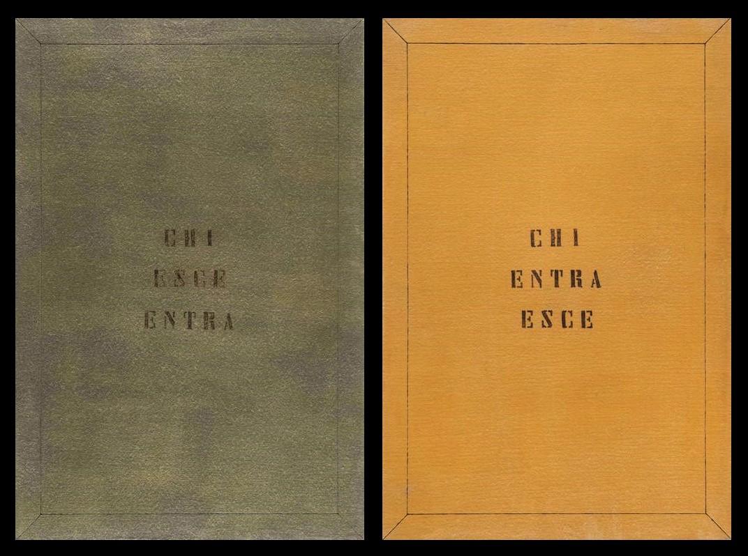 Vincenzo Agnetti Chi esce entre / Chi entra esce (1970-71). ©Agnetti