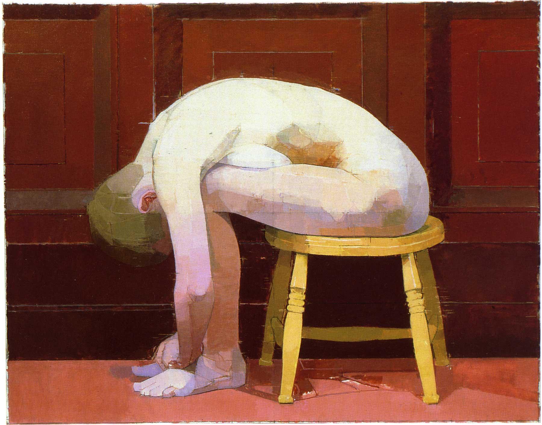 Euan Uglow Curled nude on a stool (1982-3). ©Euan Uglow