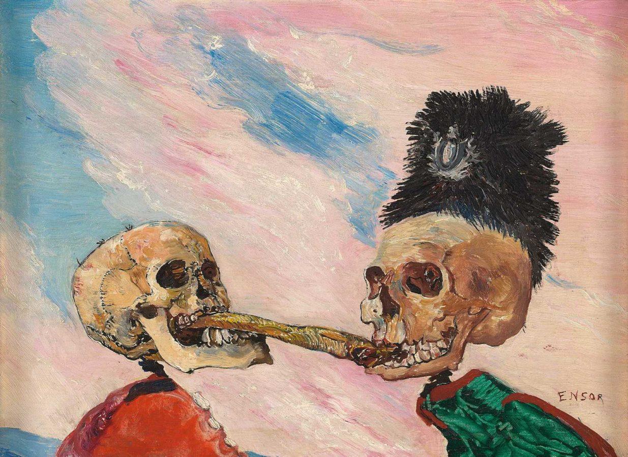 James Ensor Skeletons Fighting over a Pickled Herring (1891). Musées Royaux des Beaux-Arts de Belgique, Bruxelles