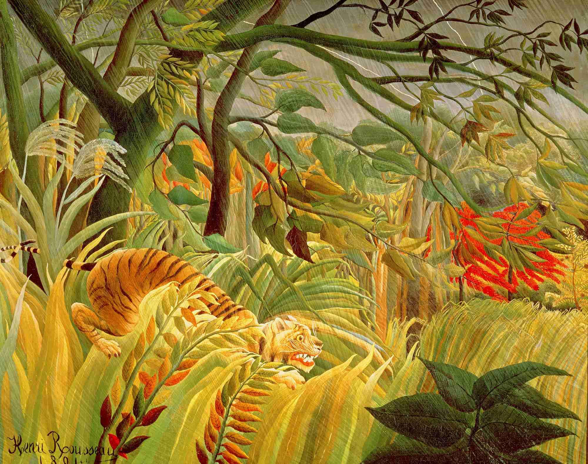 Henri Rousseau Sorpresa! (o Tigre in una tempesta tropicale) (1891). ©National Gallery, Londra