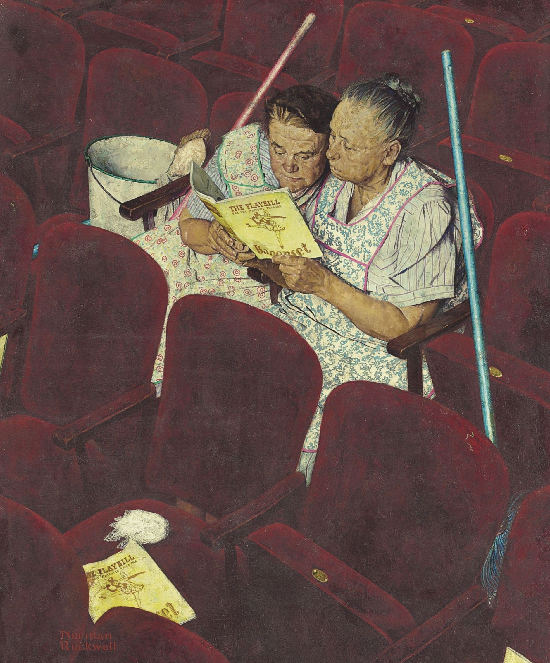 Norman Rockwell Charwomen in Theater (1946), dettaglio. ©SEPS_Curtis Publishing, Indianapolis, IN